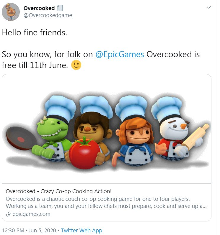 Overcooked free epic games